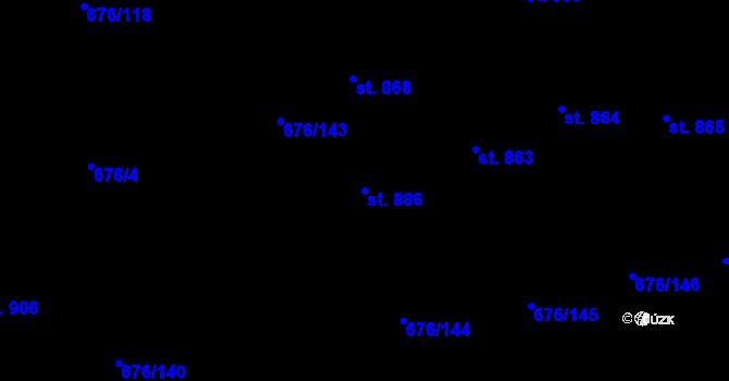 Parcela st. 886 v k.ú. Prštné, Katastrální mapa