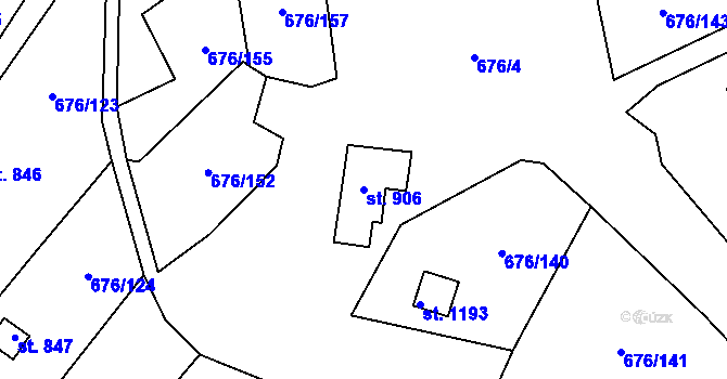 Parcela st. 906 v k.ú. Prštné, Katastrální mapa