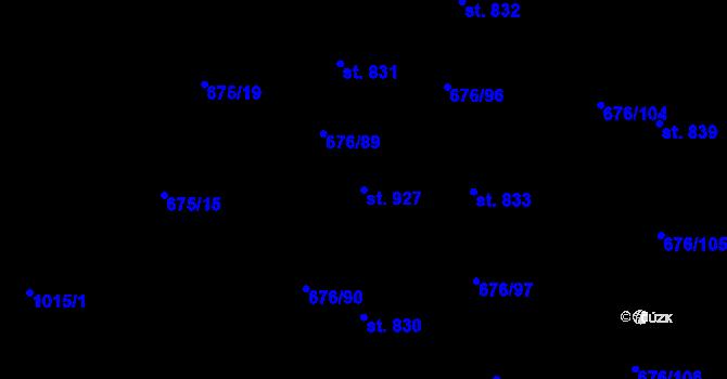 Parcela st. 927 v k.ú. Prštné, Katastrální mapa