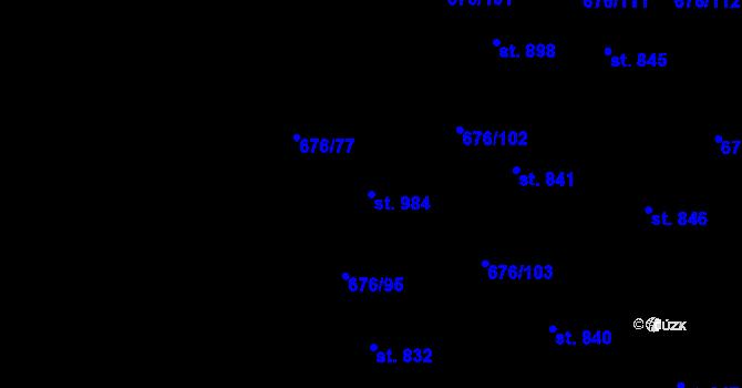 Parcela st. 984 v k.ú. Prštné, Katastrální mapa