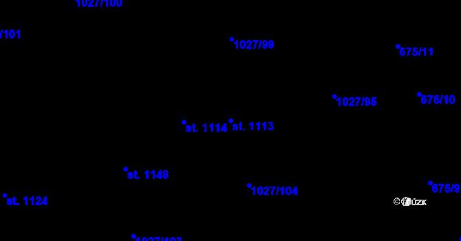 Parcela st. 1113 v k.ú. Prštné, Katastrální mapa