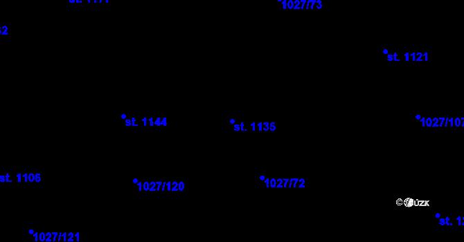 Parcela st. 1135 v k.ú. Prštné, Katastrální mapa