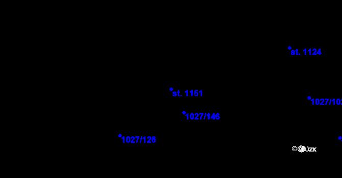 Parcela st. 1151 v k.ú. Prštné, Katastrální mapa