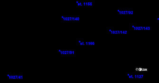 Parcela st. 1166 v k.ú. Prštné, Katastrální mapa