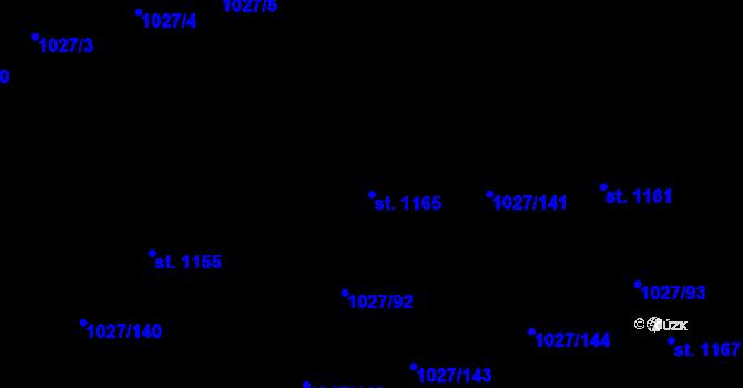 Parcela st. 1165 v k.ú. Prštné, Katastrální mapa