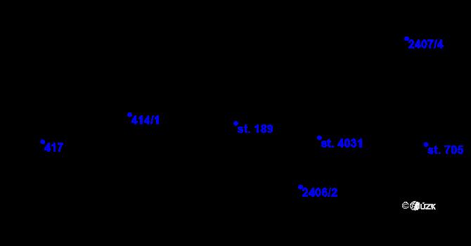 Parcela st. 189 v k.ú. Mladcová, Katastrální mapa