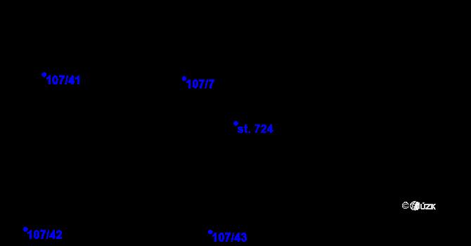 Parcela st. 724 v k.ú. Mladcová, Katastrální mapa