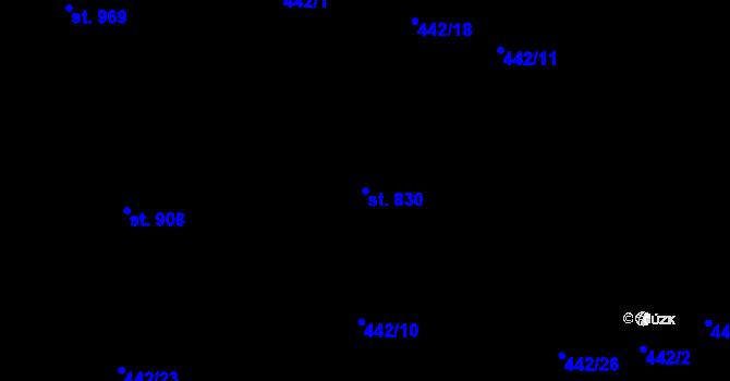 Parcela st. 830 v k.ú. Mladcová, Katastrální mapa