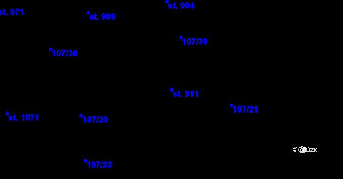 Parcela st. 911 v k.ú. Mladcová, Katastrální mapa