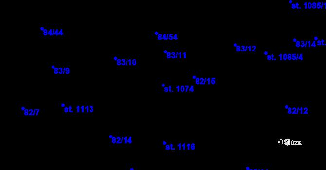 Parcela st. 1074 v k.ú. Mladcová, Katastrální mapa