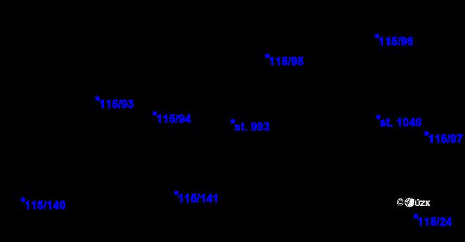Parcela st. 993 v k.ú. Mladcová, Katastrální mapa
