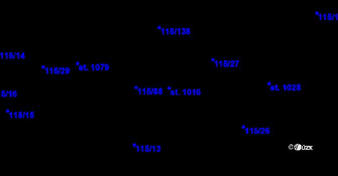 Parcela st. 1016 v k.ú. Mladcová, Katastrální mapa