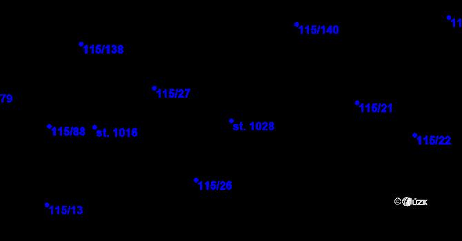 Parcela st. 1028 v k.ú. Mladcová, Katastrální mapa