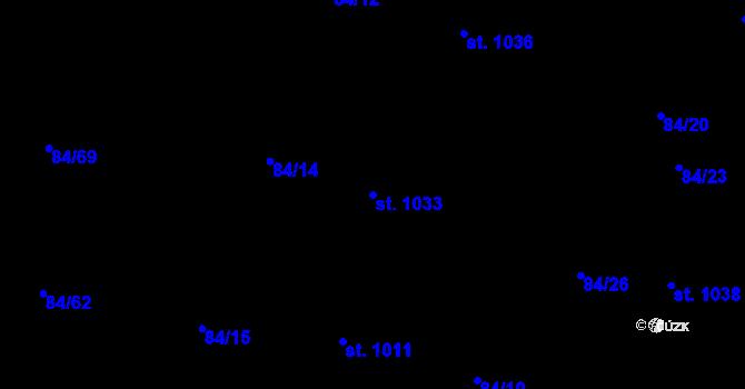 Parcela st. 1033 v k.ú. Mladcová, Katastrální mapa