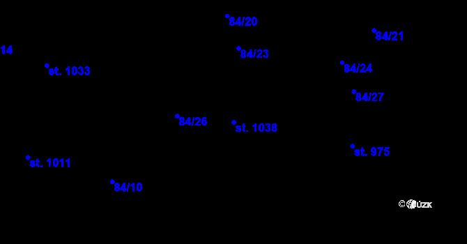 Parcela st. 1038 v k.ú. Mladcová, Katastrální mapa