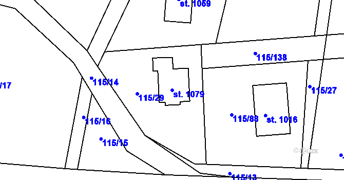 Parcela st. 1079 v k.ú. Mladcová, Katastrální mapa