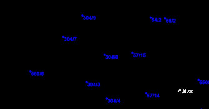 Parcela st. 304/8 v k.ú. Haklovy Dvory, Katastrální mapa