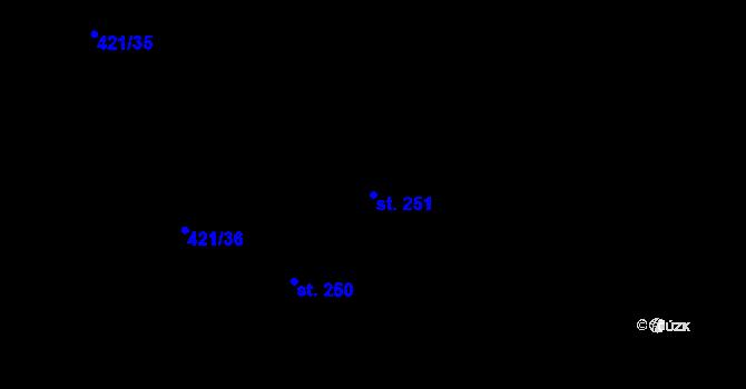 Parcela st. 251 v k.ú. Hasina, Katastrální mapa