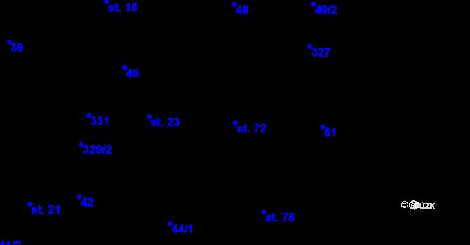 Parcela st. 72 v k.ú. Výhledy, Katastrální mapa