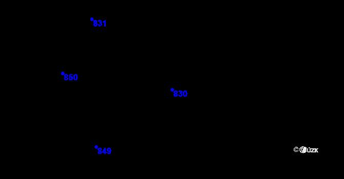 Parcela st. 830 v k.ú. Hlohovičky, Katastrální mapa