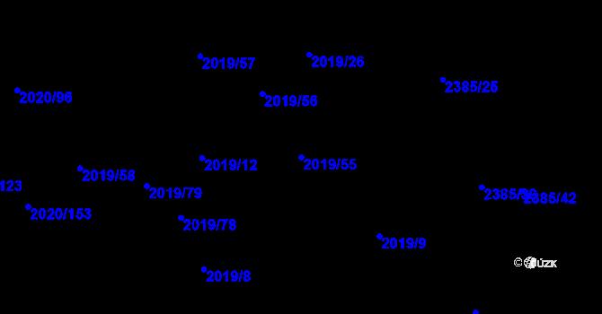 Parcela st. 2019/55 v k.ú. Holice v Čechách, Katastrální mapa