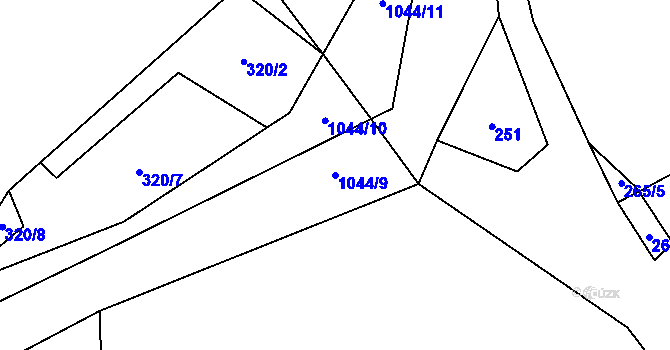 Parcela st. 1044/9 v k.ú. Horní Domaslavice, Katastrální mapa