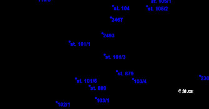 Parcela st. 101/3 v k.ú. Horní Lideč, Katastrální mapa