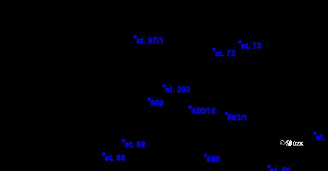 Parcela st. 202 v k.ú. Hostovice u Pardubic, Katastrální mapa