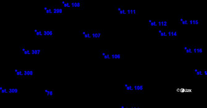 Parcela st. 106 v k.ú. Hradec Králové, Katastrální mapa