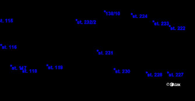 Parcela st. 231 v k.ú. Hradec Králové, Katastrální mapa