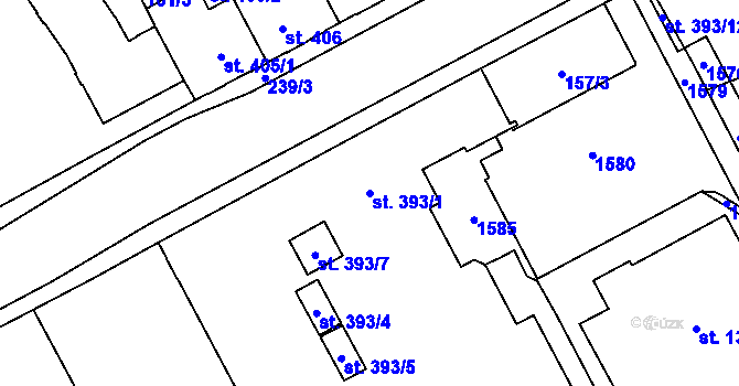 Parcela st. 393/1 v k.ú. Hradec Králové, Katastrální mapa