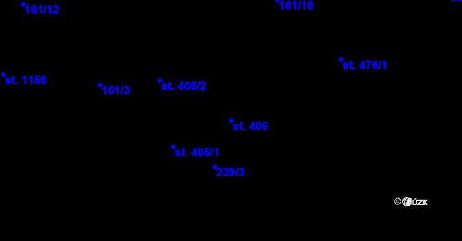 Parcela st. 406 v k.ú. Hradec Králové, Katastrální mapa