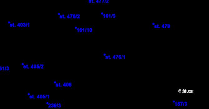 Parcela st. 476/1 v k.ú. Hradec Králové, Katastrální mapa
