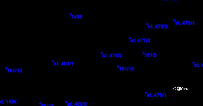 Parcela st. 476/2 v k.ú. Hradec Králové, Katastrální mapa