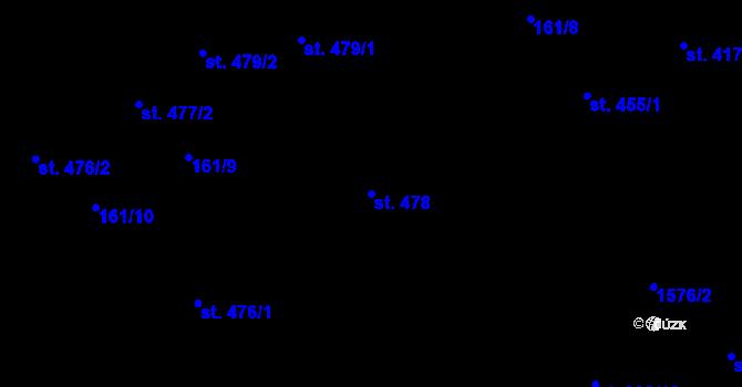 Parcela st. 478 v k.ú. Hradec Králové, Katastrální mapa