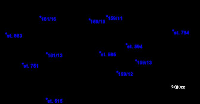 Parcela st. 595 v k.ú. Hradec Králové, Katastrální mapa