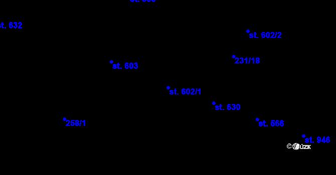 Parcela st. 602/1 v k.ú. Hradec Králové, Katastrální mapa