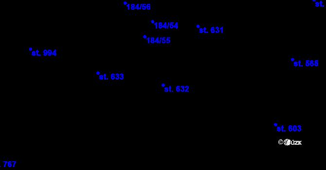 Parcela st. 632 v k.ú. Hradec Králové, Katastrální mapa