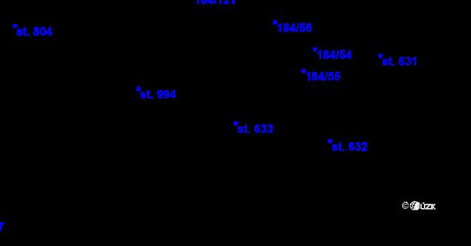 Parcela st. 633 v k.ú. Hradec Králové, Katastrální mapa