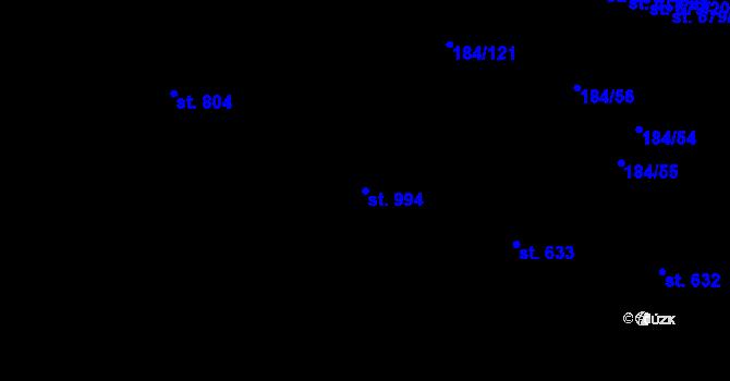 Parcela st. 994 v k.ú. Hradec Králové, Katastrální mapa