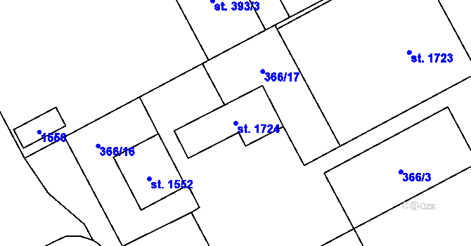 Parcela st. 1724 v k.ú. Hradec Králové, Katastrální mapa