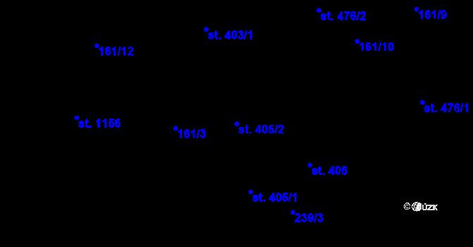 Parcela st. 405/2 v k.ú. Hradec Králové, Katastrální mapa