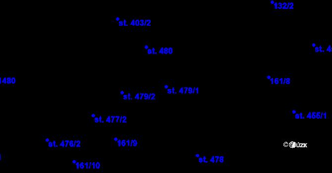 Parcela st. 479/1 v k.ú. Hradec Králové, Katastrální mapa