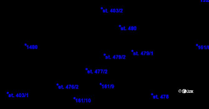 Parcela st. 479/2 v k.ú. Hradec Králové, Katastrální mapa