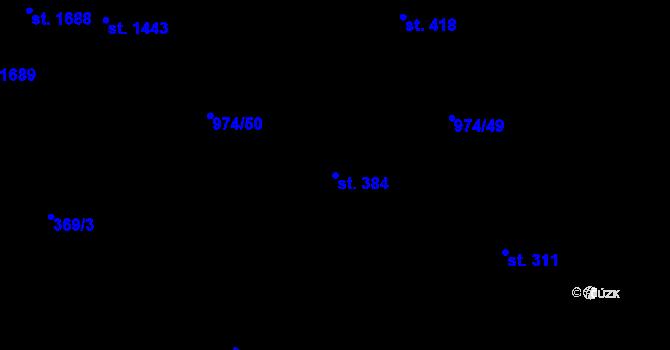 Parcela st. 384 v k.ú. Slezské Předměstí, Katastrální mapa