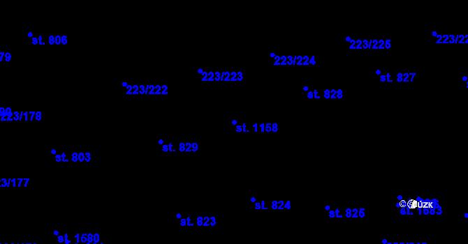 Parcela st. 1158 v k.ú. Malšovice u Hradce Králové, Katastrální mapa