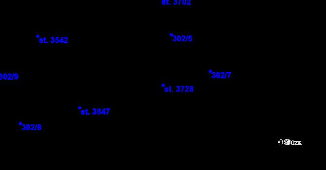 Parcela st. 3728 v k.ú. Nový Hradec Králové, Katastrální mapa