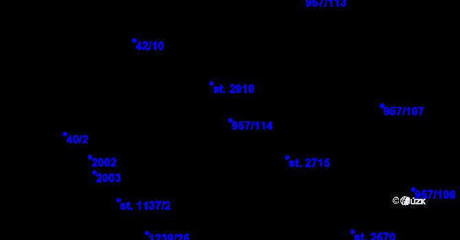 Parcela st. 957/114 v k.ú. Kukleny, Katastrální mapa