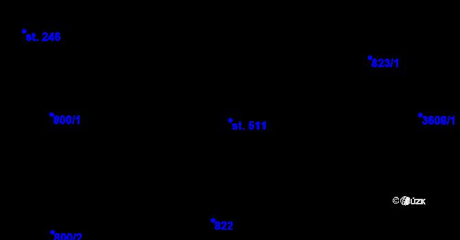 Parcela st. 511 v k.ú. Hradec nad Svitavou, Katastrální mapa