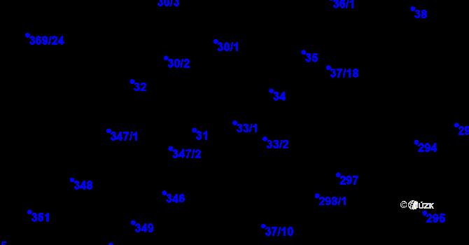 Parcela st. 33/1 v k.ú. Hudcov, Katastrální mapa